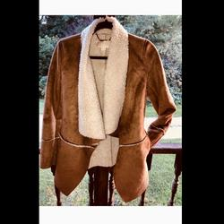 Michael Kors Jackets & Coats | Michael Kors Shearling Trim Asymmetrical Jacket | Color: Tan | Size: Xs