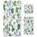 GOODOLD 3-Piece Towel Purple Flowers and Green Shamrocks Cotton Bath Towel Set (1 Bath Towel, 1 Hand Towel, 1 Washcloth) for Bathroom, Super Soft and Quick Dry Towels, St. Patrick's Day