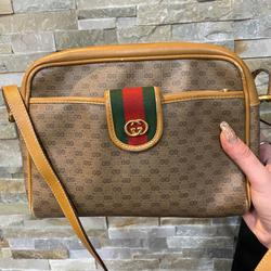 Gucci Bags   Gucci Sherryline Sling Bag With Pouch   Color: Green/Tan   Size: 9x3x7