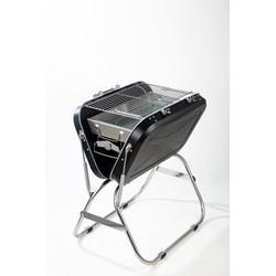 """Aofeina 23.5"""" Stainless Steel Outdoor BBQ Portable Charcoal Grill Porcelain-Coated Grates/Stainless Steel in Black/Gray   Wayfair CW57623444"""