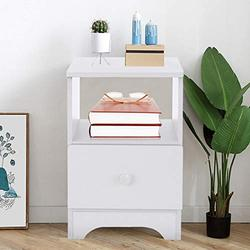 Nightstand with Drawer Bedside Furniture & Night Stand End Table Dresser Modern Assemble Storage Cabinet Storage Cabinet Bedroom Bedside Locker Double Single Drawer Nightstand【US Stock】