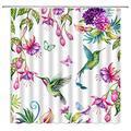 Hummingbird Flower Shower Curtain Calla Lily Tropical Floral Butterfly Decor Spring Dynamic Garden,Bird Fabric Bathroom Set Hooks Included