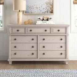 "Birch Lane™ Byron Vintage Style 9 Drawer Double Dresser, Wood in White, Size 19"" L x 66"" W x 42"" H | Wayfair FCA708F0049F4678BE1C9C9558FA17CD"