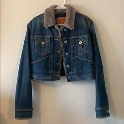 Levi's Jackets & Coats | Levis Trucker Jacket With Faux Fur Trim | Color: Blue | Size: Lj
