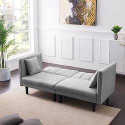 "Corrigan Studio® Yeghishe 73.62"" Linen Square Arm SleeperWood/Solid Wood/Linen/Linen Blend in Gray, Size 31.5 H x 73.62 W x 32.28 D in   Wayfair"