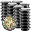 Prep & Savour Round Meal Prep 100 Container Food Storage Set Plastic in Black, Size 2.0 H x 9.0 W x 6.0 D in   Wayfair