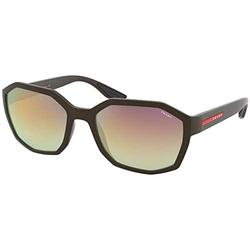 Prada Linea Rossa PS 02VS Brown Rubber/Green Gradient Brown Mirror Pink One Size