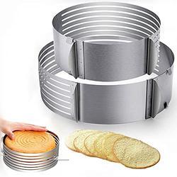 Cake Leveler Cake Slicer Layer Cake Cutter Slicer Stainless Steel Adjustable Big Cake Rings 7-Layer Cake 6-8 inch/9.5-12inch Stainless Steel Cake Slicer Leveler Mousse Mould Slicing Cake
