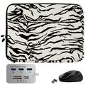 White Zebra 13-inch Laptop Sleeve, Mouse, Hub for Samsung Galaxy Book Pro 360, S, Ion 13, Flex 2 1 a Alpha, Galaxy Chromebook 2 1, Notebook Flash, 7 9, 9 Pen 9 Pro 13.3-inch