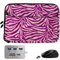 Pink Zebra 13-inch Laptop Sleeve, Mouse, Hub for Samsung Galaxy Book Pro 360, S, Ion 13, Flex 2 1 a Alpha, Galaxy Chromebook 2 1, Notebook Flash, 7 9, 9 Pen 9 Pro 13.3-inch