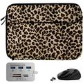 Leopard Print 13-inch Laptop Sleeve, Mouse, Hub for Samsung Galaxy Book Pro 360, S, Ion 13, Flex 2 1 a Alpha, Galaxy Chromebook 2 1, Notebook Flash, 7 9, 9 Pen 9 Pro 13.3-inch