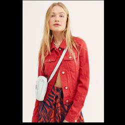 Free People Jackets & Coats | Free People Rumors Denim Jacket Cropped | Color: Red | Size: S