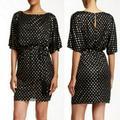 Jessica Simpson Dresses | Jessica Simpson Cold Shoulder Mini Dress | Color: Black/Gold | Size: 6