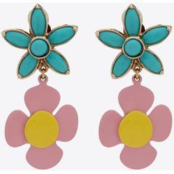 Flower Pendant Earrings In Metal, Enamel And Resin - Blue - Saint Laurent Earrings