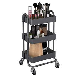 MIOCASA 3-Tier Metal Utility Rolling Cart, Heavy Duty Multifunction Cart with Lockable Casters, Easy to Assemble, Suitable for Office, Bathroom, Kitchen, Garden (Dark Gray)