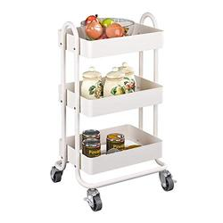 MIOCASA 3-Tier Metal Utility Rolling Cart, Heavy Duty Multifunction Cart with Lockable Casters, Easy to Assemble, Suitable for Office, Bathroom, Kitchen, Garden (White)