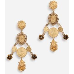 Pendant Earrings With Votive Decorations And Small Roses - Metallic - Dolce & Gabbana Earrings