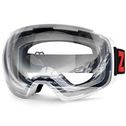 ZIONOR X4 Ski Goggles Magnetic Lens - Snowboard Goggles for Men Women Adult - Snow Goggles Anti-Fog UV Protection (VLT 76% White Frame Clear Lens)