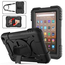 Fire HD 8 Case 2020 with Handle   AVAKOT Kindle Fire HD 8/HD 8 Plus Case with Hand Strap Shoulder Strap   Heavy Duty Shockproof Cover W/Swivel Stand for Amazon Fire HD 8 10th Generation   Black