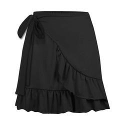 UDEAR Women's Casual Skirts Black - Black Ruffle Wrap Skirt - Women & Plus