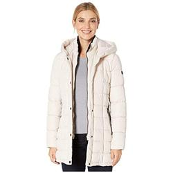 Calvin Klein womens Women's Maxi Hooded Raincoat, Black, M