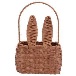 Cabilock Woven Basket Wicker Rattan Storage Basket Box Picnic Basket Laundry Basket with Bunny Ears (Light Brown)