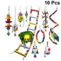 10 pièces perroquet jouet bois cloche créative drôle échelle Cage accessoires morsure jouet à mâcher