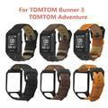 Bracelet en cuir véritable remplacé Bracelet en métal fermoir boucle Bracelet de montre pour TomTom