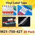 Paquet de 20 étiquettes ruban M21-750-427 m21 750 427 ruban vinyle étiquettes noir sur blanc Film
