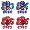 Ballons Captain America en Latex pour hommes, 8 pièces, ballon rond avec chiffres, décoration de