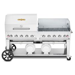 """Crown Verity CV-CCB-72RWP 70"""" Mobile Gas Commercial Outdoor Grill w/ Roll Domes & Wind Guards, Liquid Propane"""