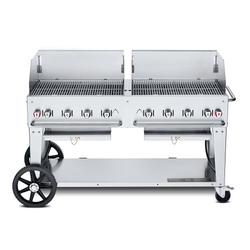 """Crown Verity MCB-60WGP-LP 58"""" Mobile Gas Commercial Outdoor Charbroiler w/ Water Pan, Liquid Propane"""