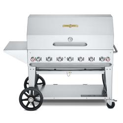 """Crown Verity CV-MCB-48PKG-NG 46"""" Mobile Gas Commercial Outdoor Charbroiler w/ Roll Dome, Natural Gas"""