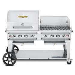 """Crown Verity CV-RCB-60RWP-SI-BULK 58"""" Mobile Gas Commercial Outdoor Grill w/ Roll Dome, Liquid Propane"""