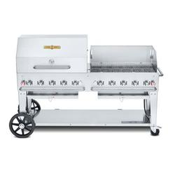 """Crown Verity CV-MCB-72RWP-LP 70"""" Mobile Gas Commercial Outdoor Charbroiler w/ Roll Dome & Wind Guard, Liquid Propane"""