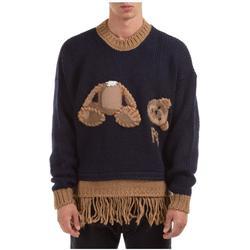 Men's Crew Neck Neckline Jumper Sweater Pullover Bear Fringed - Blue - Palm Angels Knitwear