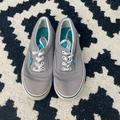 Vans Shoes | Gray And Teal Low Cut Vans Sneakers | Color: Blue/Gray | Size: 7.5
