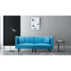 """Corrigan Studio® Vanig 73.62"""" Velvet Tuxedo Arm Sofa Bed Velvet in Blue/Brown, Size 31.5 H x 73.62 W x 32.28 D in   Wayfair"""
