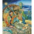 Bloomsbury Market Miracle of Birth - Graphic Art Print on Canvas Canvas & Fabric in Blue/Brown/Green, Size 20.0 H x 16.0 W x 2.0 D in   Wayfair