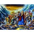 Bloomsbury Market Moses Leads the Exodus from the Egypt - Painting Print on Canvas in Blue/Brown, Size 24.0 H x 36.0 W x 2.0 D in   Wayfair