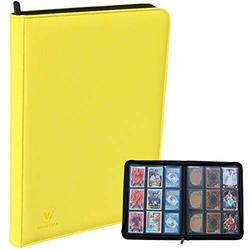 WINTRA Premium Zip Card Binder, 9 Pocket Trading Card Collectors Album, Side Loading 360 Pockets Binder for Trading Cards and Sports Cards (Yellow)