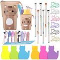 Cat Office Supplies Cat-shaped Sticky Notes Paper Clips Transformer Telescopic Pencil Pouch Holder Cat Gel Ink Pens Cartoon Cat Note Page Flag for Home School Office Cat Lovers (Adorable Brown Cat)