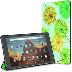 Kindle Case Pu Leather Smart Cover Abstract Blue Background Colored Dandelions Texture Case for Kindle Fire Hd 10 Kindle Fire Hd 10 Inch Tablet Case(9th Gen 2019/7th Gen 2017) with Auto Wake/Sleep