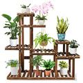 Wood Plant Stand Indoor Outdoor Plant Shelf Wooden Plant Rack Display Flower Stand Higher and Lower Plant Holder Multi Tier Plant Stands for Indoor Plants in Corner Yard Balcony Living Room