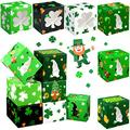 24 Pieces St. Patrick's Day Cupcake Treat Boxes with PVC Window Gnome Shamrock Printed Cookie Storage Boxes Colorful Clover Party Favor Boxes for St. Patrick's Day Holiday Pastries Desserts