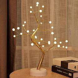 20'' Tabletop Bonsai Tree Light with LED Lights-USB/Battery Touch Switch,Fairy Spirit Light Tree Celtic Serenity, Artificial Lighted Tree Lamp for Living Room Home Decor Gifts(Pearl-36l)