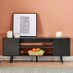 HomeSailing Living Room Wood TV Stand Cabinet Black with Drawers and Storage Shelves 47 inches, TV Display Media Equipment Storage Cabinet Audio Entertainment Center Low Height
