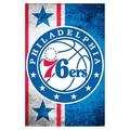 """Trends International NBA Philadelphia 76ers - Logo 15 Wall Poster, 14.725"""" x 22.375"""", White Framed Version"""