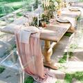 Chemin de table en gaze rose pour 8 personnes, bannière de table de fête, décoration de mariage