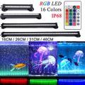 Lampe LED étanche pour Aquarium 16-46CM, lampe à bulles avec télécommande sous-marine, rvb, prise UK